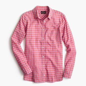 J.Crew Crinkle Gingham Boy Button Up Shirt Size 2